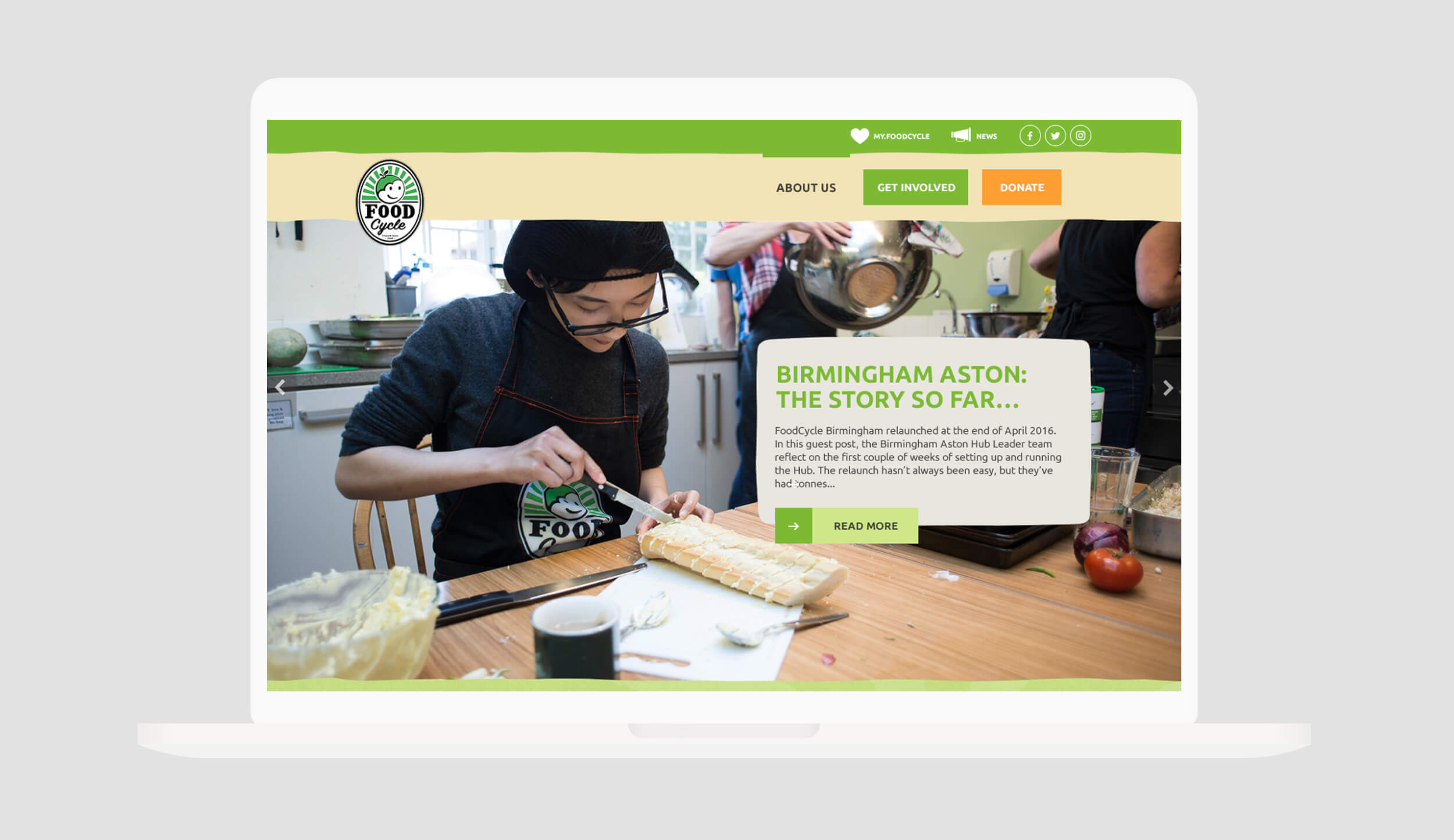 FoodCycle home page laptop view