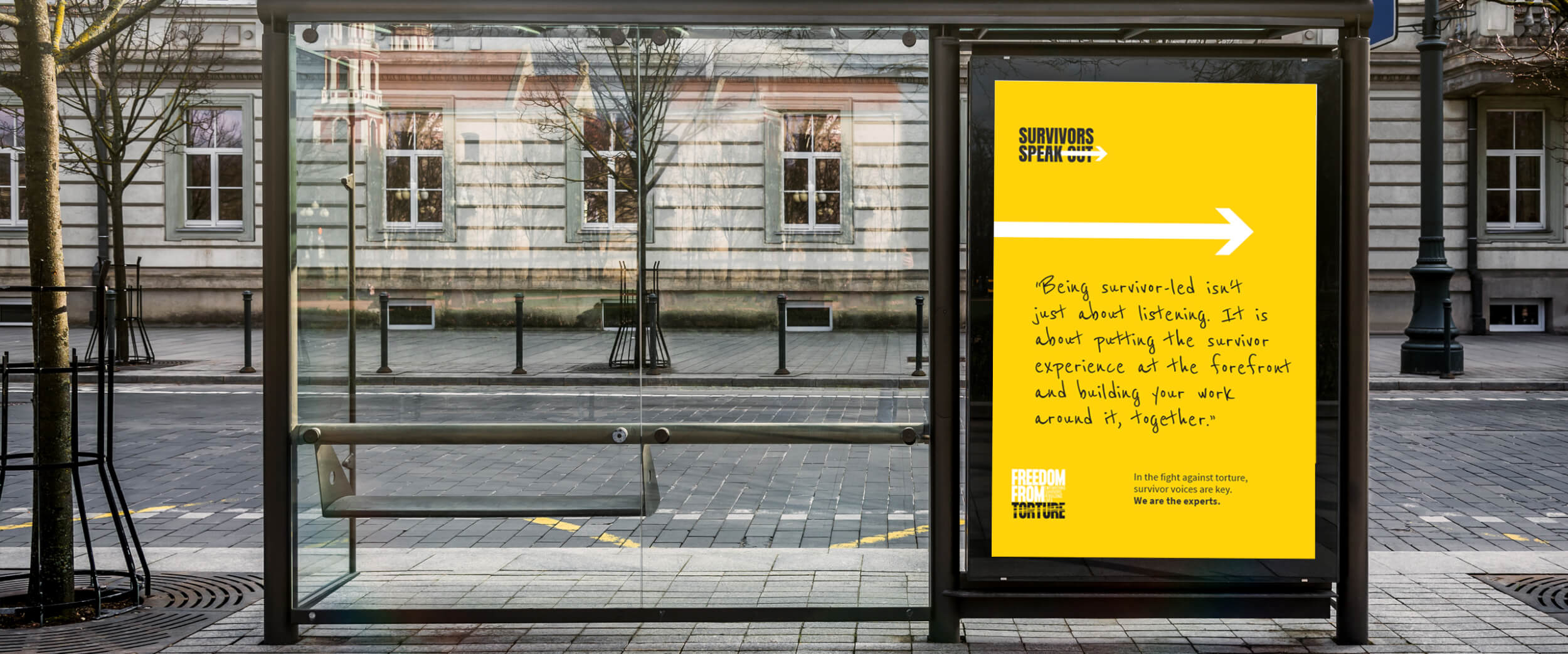 Survivors Speak OUT charity brand awareness bus stop poster